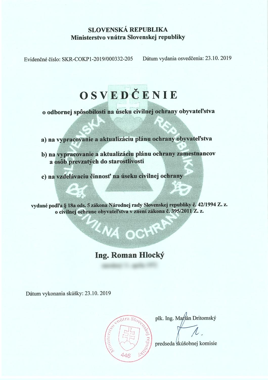 Osvedčenie o odbornej spôsobilosti na úseku civilnej ochrany obyvateľstva Roman Hlocký