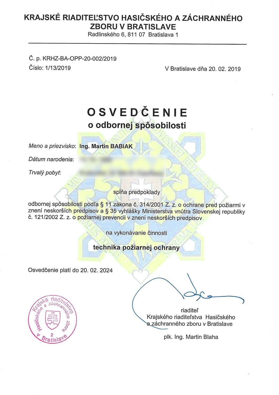 Osvedčenie o odbornej spôsobilosti technika požiarnej ochrany Martin Babiak